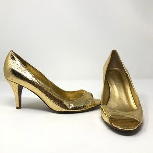 J Crew Gold Pumps Size 7,5 Italy leather